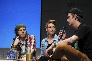 Simon Unge Ungespielt, Amy Herzstark, LeFloid auf der Digitalkonferenz Republica 2013 in Berlin.