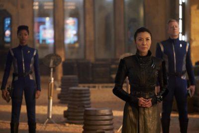 Michelle Yeoh, Sonequa Martin Green und Anthony Rapp in Star Trek: Discovery. Foto: CBS